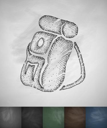 ice ax: backpack icon. Hand drawn vector illustration. Chalkboard Design Illustration