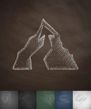 ice ax: way icon. Hand drawn vector illustration. Chalkboard Design