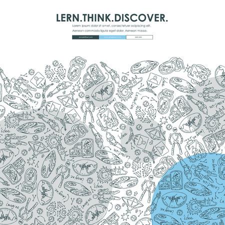 invention: invention Website Template Design with Doodle Background Illustration