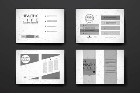 macromolecule: Set of brochure, poster templates in healthcare style. Beautiful design and layout Illustration