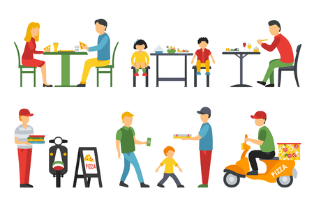 deliveryman: People in a flat interior. Pizza icons set. Deliveryman, Customers, Bistro, Waiters, Delivery. Pizzeria conceptual web vector illustration. Illustration