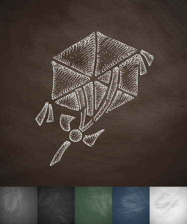 masses: hexagonal kite icon. Hand drawn vector illustration. Chalkboard Design Illustration