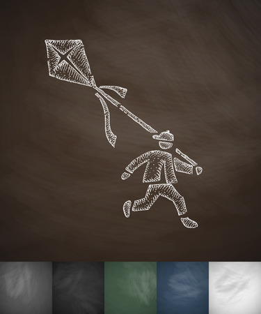 gust: boy and kite icon. Hand drawn vector illustration. Chalkboard Design