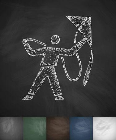 man and kite icon. Hand drawn vector illustration. Chalkboard Design Illustration