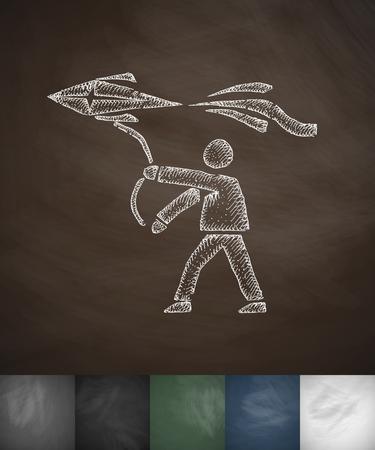 masses: man with kite icon. Hand drawn vector illustration. Chalkboard Design Illustration