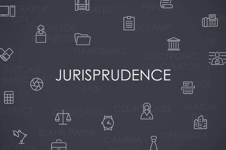 jurisprudencia: Stroke delgada línea Iconos de Jurisprudencia en el fondo blanco