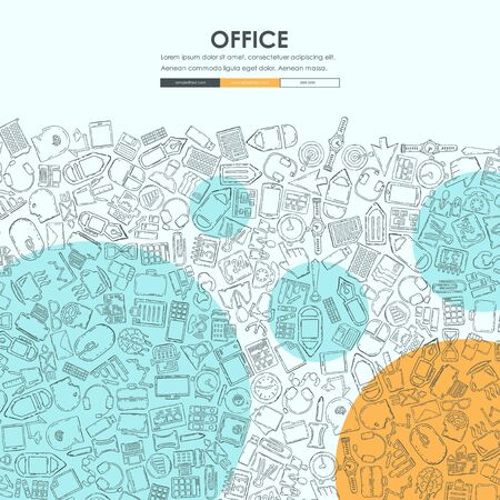professionalism: office Website Template Design with Doodle Background Stock Photo