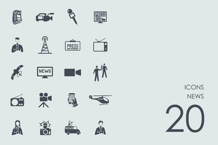 tv tower: news vector set of modern simple icons