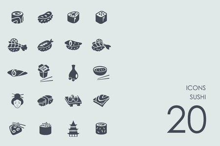 fish exhibition: sushi vector set of modern simple icons Illustration