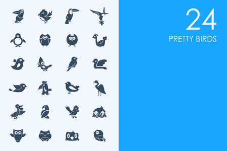 ornithologist: BLUE HAMSTER Library pretty birds vector set of modern simple icons Illustration