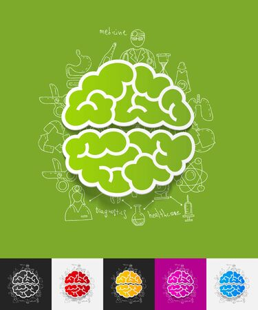 gyrus: hand drawn simple elements with brain paper sticker shadow