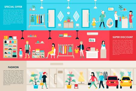 shopping center interior: Shopping Center and Boutique Rooms flat shop interior concept web. Fashion Clothes Customers Mall Retail Purchase. Vector Illustration Illustration