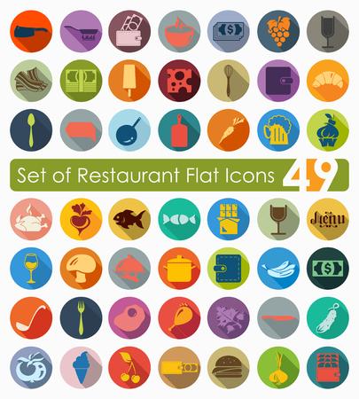 comfort food: Set of restaurant icons Illustration