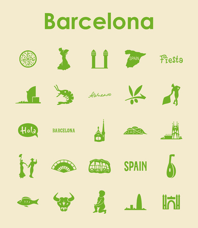barcelona: Set of Barcelona simple icons Illustration