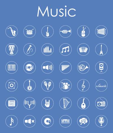 Set van eenvoudige muziek pictogrammen Stock Illustratie