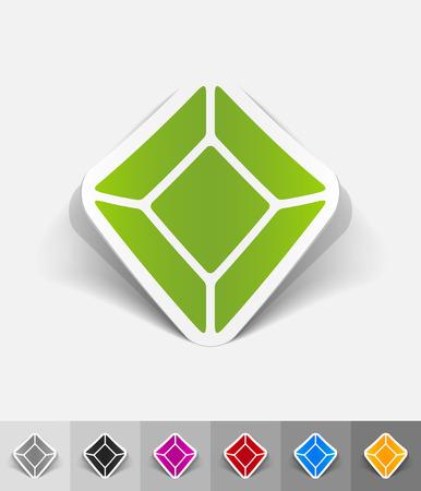 gem: gem paper sticker with shadow. Vector illustration