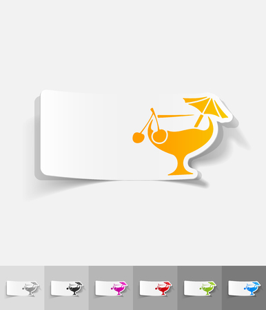 spirituous: cocktail paper sticker with shadow. Vector illustration Illustration