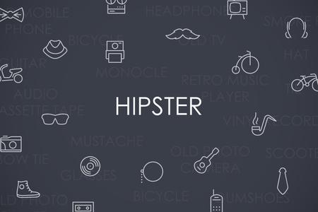 Thin Stroke Line Icons of Hipster on White Background Vektoros illusztráció