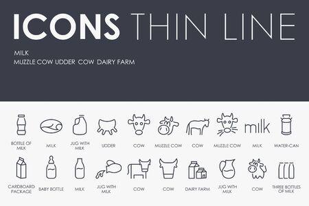 vacas lecheras: Thin Stroke Line Icons of Milk on White Background