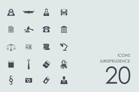 juror: jurisprudence vector set of modern simple icons Illustration