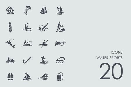 モダンなシンプルなアイコンの水スポーツ ベクトルを設定