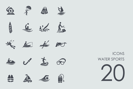 water sports: water sports vector set of modern simple icons