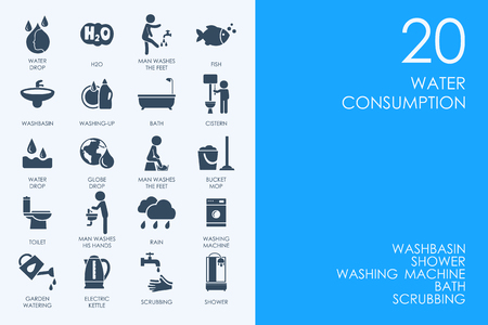 BLUE HAMSTER Library water consumption vector set of modern simple icons