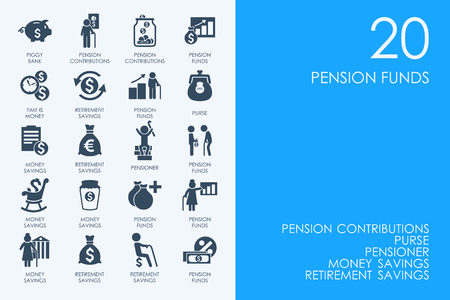 retirement savings: BLUE HAMSTER Library pension funds vector set of modern simple icons