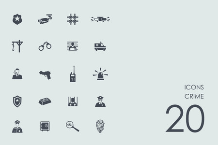 alibi: crime vector set of modern simple icons Illustration