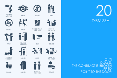 severance: BLUE HAMSTER Library dismissal vector set of modern simple icons