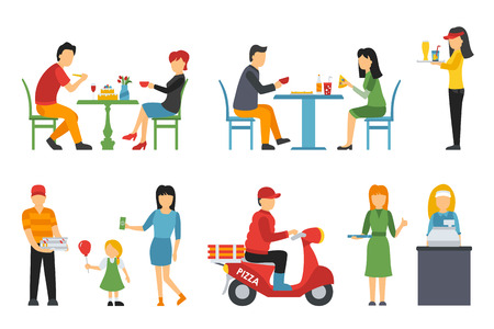 deliveryman: Pizzeria icons set. People in a flat interior. Cashier, Deliveryman, Customers, Bistro, Waiters, Delivery, Scooter. Pizza conceptual web vector illustration.