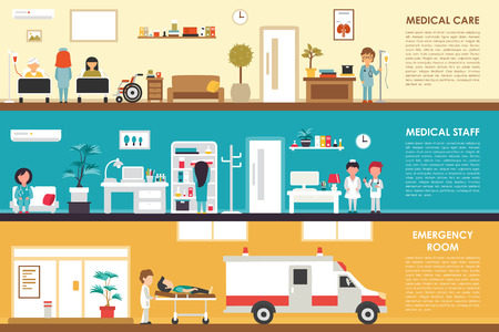 sick people: Medical Care and Staff Emergency room flat hospital interior concept web vector illustration. Doctor, Nurse, First Aid, Clinic. Medicine service presentation Illustration