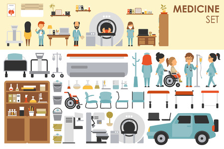 hospital patient: Medical Big Collection in flat design background concept. Infographic elements set with hospital staff doctor and nurse around medicine tools equipment. Icons for your product or illustration