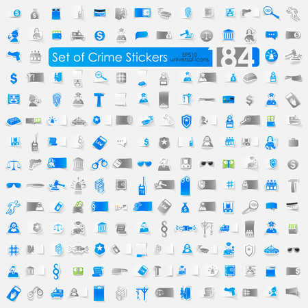 crime: Set of crime stickers