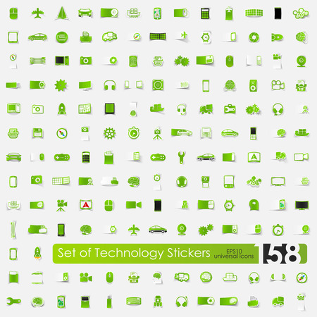 complex system: technology vector sticker icons with shadow. Paper cut