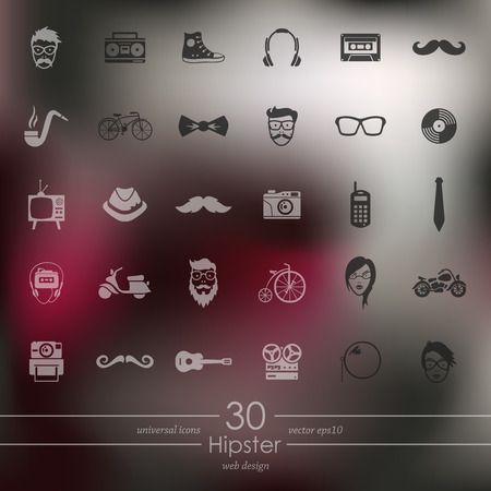 the admirer: hipster modern icons for mobile interface on blurred background