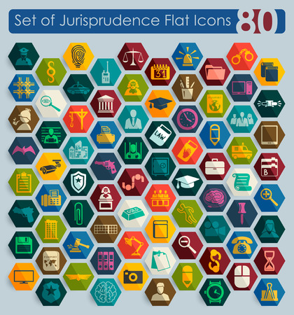 jurisprudencia: Set of jurisprudence flat icons for Web and Mobile Applications