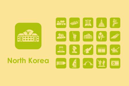 communistic: It is a set of North Korea simple web icons Illustration