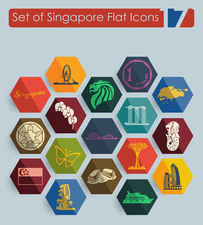exposición: Set of Singapore flat icons for Web and Mobile Applications Vectores