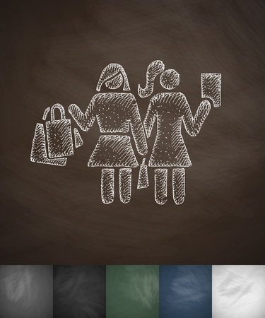 two girls: Two girls with shopping bags icon. Hand drawn vector illustration. Chalkboard Design