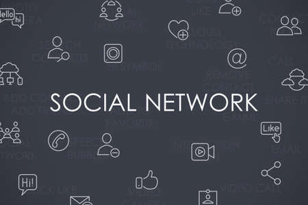 web portal: Thin Stroke Line Icons of Social Network on White Background