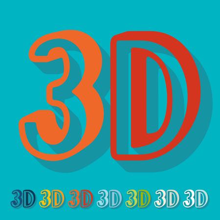 tridimensional: Flat design: 3D
