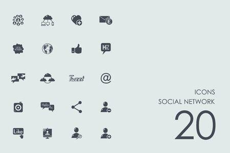 web portal: social network vector set of modern simple icons