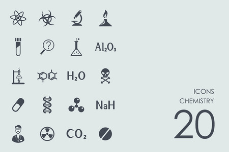 bunsen burner: chemistry vector set of modern simple icons