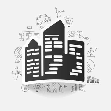 skyscrapers: drawing business formulas. city skyscrapers