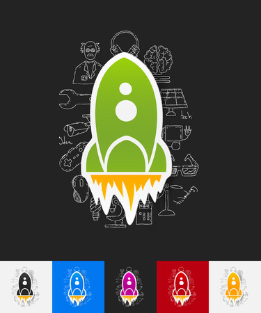 supersonic: hand drawn simple elements with rocket paper sticker shadow