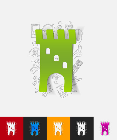 hand drawn simple elements with fortress paper sticker shadow 矢量图像