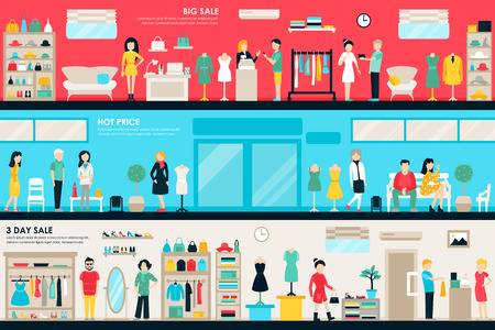 shopping people: Shopping Center and Boutique Rooms flat shop interior concept web. Fashion Clothes Customers Mall Retail Purchase. Vector Illustration Illustration