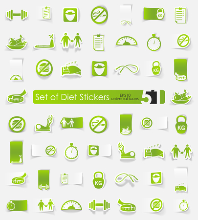 temperance: diet vector sticker icons with shadow. Paper cut