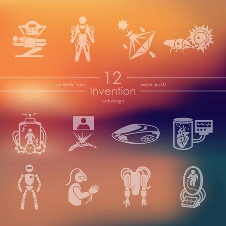 progressive art: invention modern icons for mobile interface on blurred background Illustration
